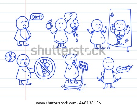 Doodle funny people icons on striped paper. Health, food, diet - doodles set. Vector background.