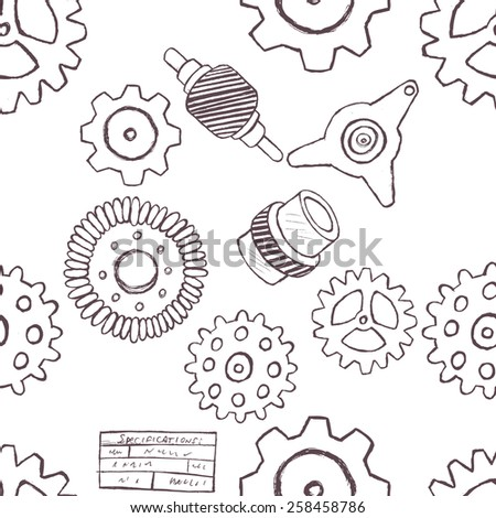 Doodle gears seamless pattern.  - stock vector