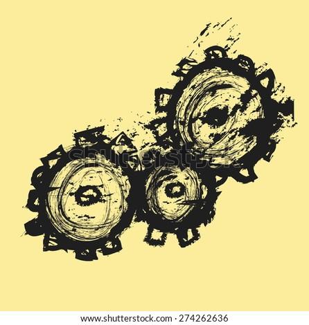 doodle gears vector illustration - stock vector