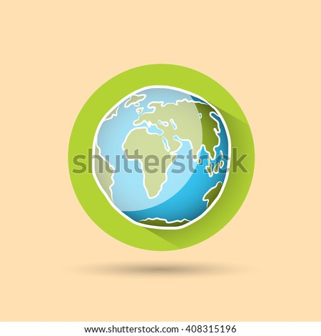 Doodle globe, icon vector illustration for your design, eps10 2 layers - stock vector