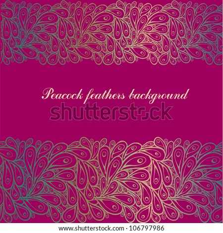 Doodle gradient peacock feathers pattern background on purple - stock vector