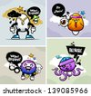 Doodle graffiti images with bizarre characters. Vector illustration. - stock vector
