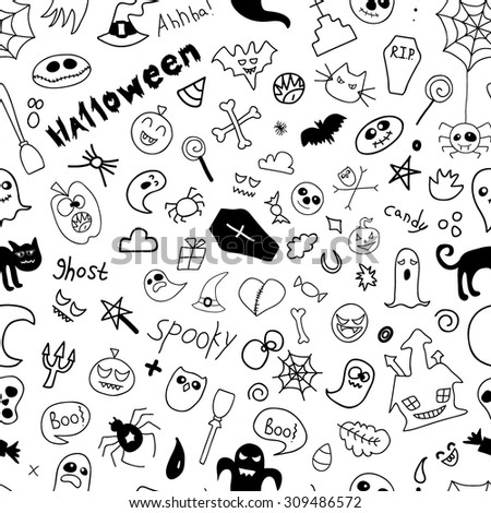 Doodle halloween holiday background. Halloween doodles elements. vector illustration. Seamless pattern.