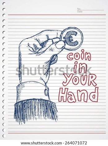 doodle hand and euro coin - stock vector