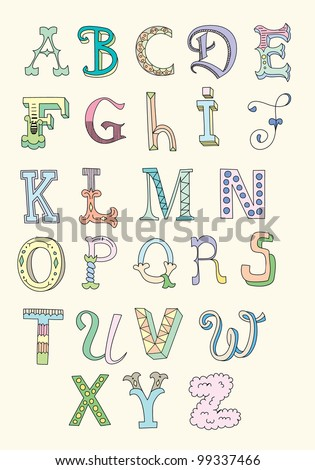 Doodle hand drawn alphabet in pastel tints - stock vector