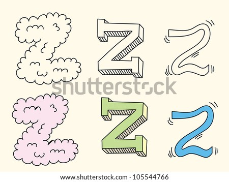 Doodle hand drawn alphabet in pastel tints : letter Z - stock vector