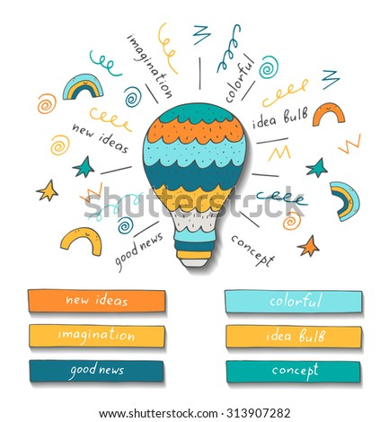 Doodle hand drawn bulb showing new ideas, inspiration, good news, positive waves, Conceptual vector image with bulb and text spaces - stock vector