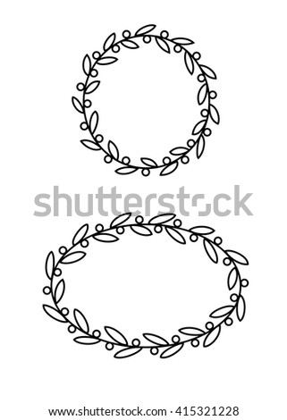 Doodle Hand Drawn Olive Branch Frames Stock Vector 415321228 ...
