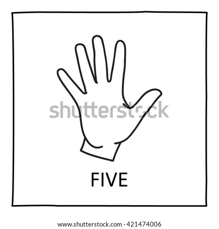 Doodle Hand icon. Counting fingers. Five fingers. Graphic element for teaching math to young children. School printout. Great for showing numbers in a fun and creative way. Vector illustration. - stock vector