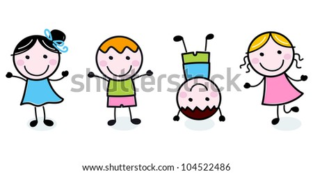 Doodle happy kids group isolated on white - stock vector