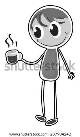 Doodle happy man carrying a coffee cup