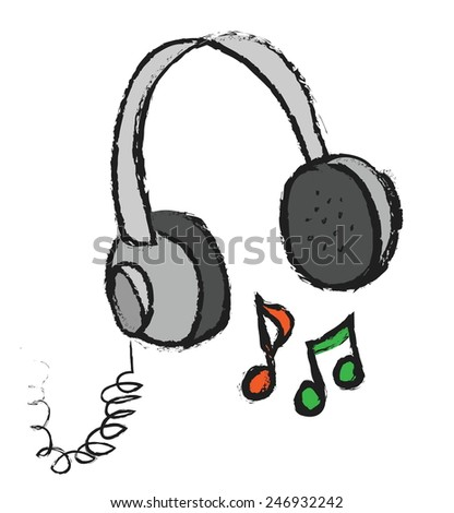 Doodle headphones vector illustration with musical notes