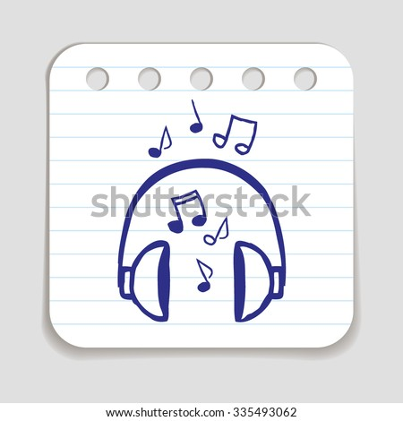 Doodle Headphones with Notes icon. Blue pen hand drawn infographic symbol on a notepaper piece. Line art style graphic design element. Web button with shadow. Listening to music, DJ work concept.   - stock vector