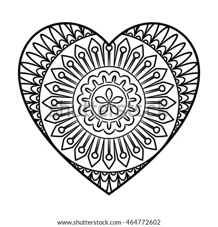 Doodle Heart Mandala Coloring Page Outline Stock Vector 464772596