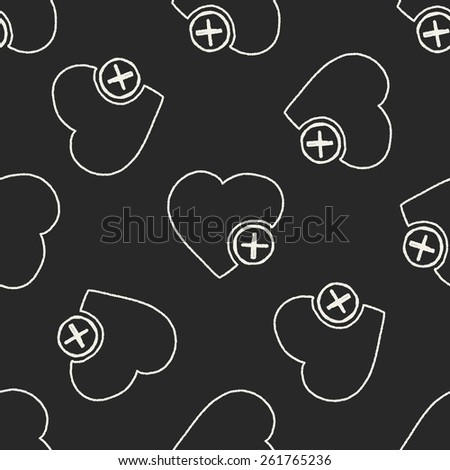 Doodle Heart seamless pattern background - stock vector