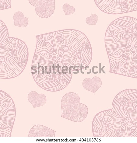 Doodle heart seamless texture, pink outline heart vector image on a pink background.