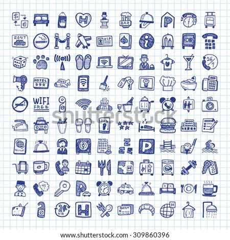 doodle hotel icons  - stock vector