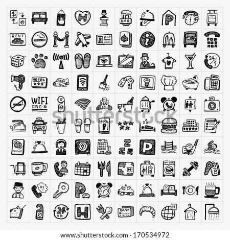doodle hotel icons set - stock vector