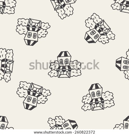 Doodle House seamless pattern background