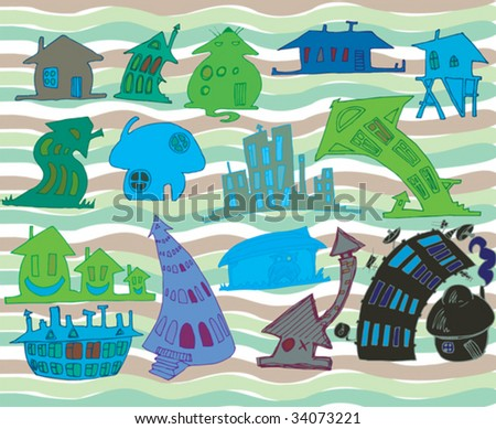 Doodle houses - stock vector