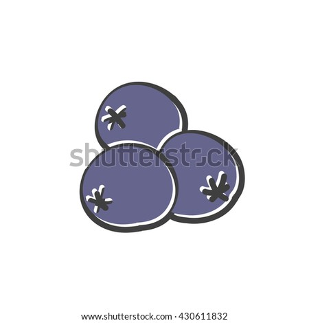 doodle icon. blueberry. vector illustration