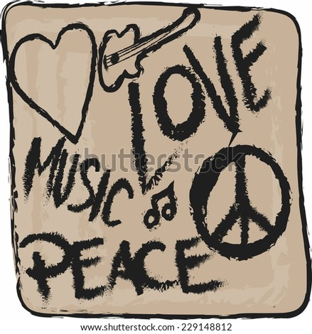 doodle icon grunge Peace, Love and Music isolated  - stock vector