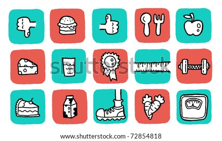 doodle icon set - health. colors are changeable.