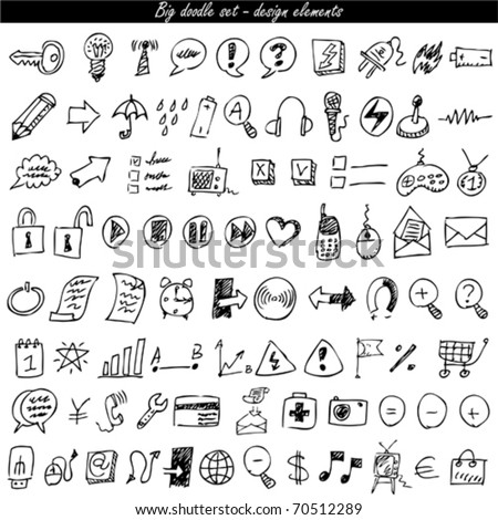 Doodle icon set - web & internet - stock vector