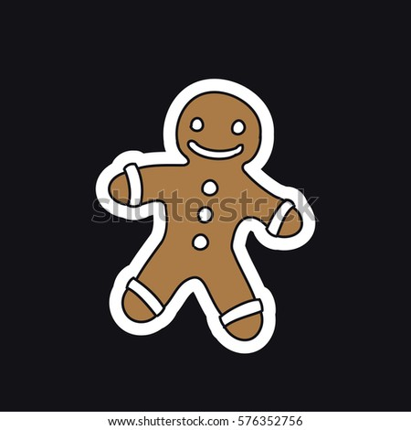 Gingerbread Man Icon Christmas Traditional Symbol Stock Vector ...