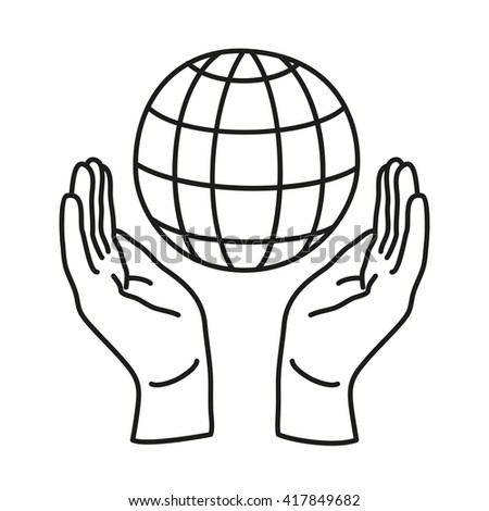 Doodle icon. Two hands holding a globe. Save the Earth. Environmental concept. Line art icon for web, mobile and infographics. Vector illustration. - stock vector