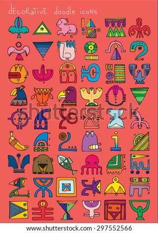 doodle icons illustration collection decorative SIGNS color H