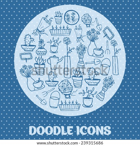 Doodle icons. Set of potted flowers, garden furniture - stock vector
