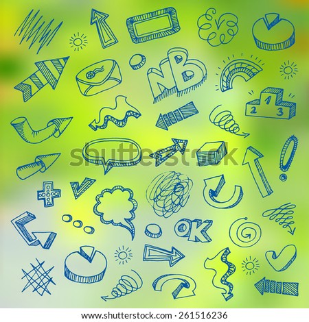 Doodle icons set on the green blurred background - stock vector