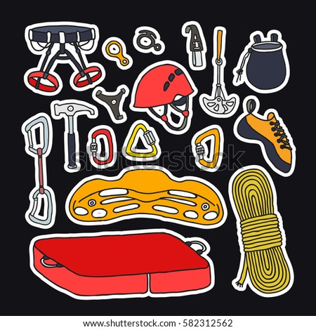 doodle icons stickers climbing equipment vector stock vector