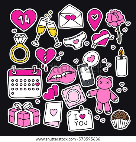 doodle icons, stickers. Valentine's Day. vector illustration