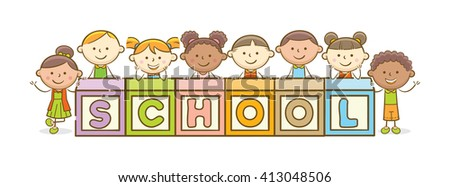 Doodle illustration: Alphabet block spelling School - stock vector
