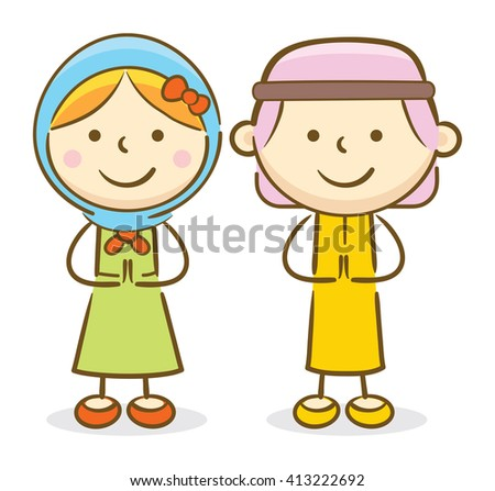 Doodle illustration: Arabian kids making a greeting gesture and smiling