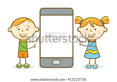 Doodle illustration: Boy and girl presenting a blank mobile phone screen - stock vector