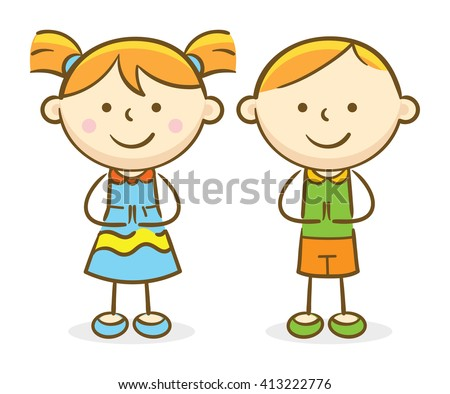 Doodle illustration: Caucasian kids making a greeting gesture and smiling - stock vector
