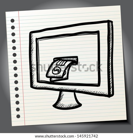 Doodle illustration computer with money inside screen - stock vector