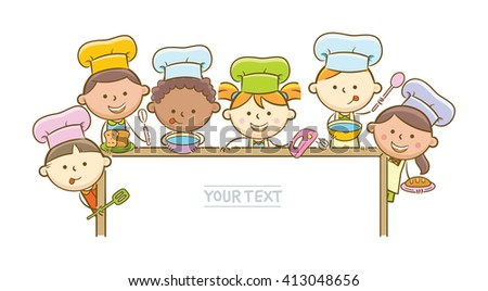 Doodle illustration: Kid chefs showing horizontal blank whiteboard
