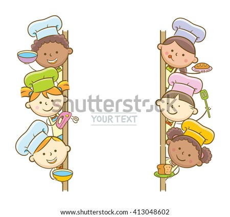 Doodle illustration: Kid chefs showing vertical blank whiteboard - stock vector