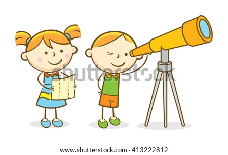 Doodle illustration: Kids looking through a telescope - stock vector