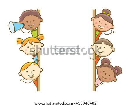 Doodle illustration: Kids showing vertical whiteboard