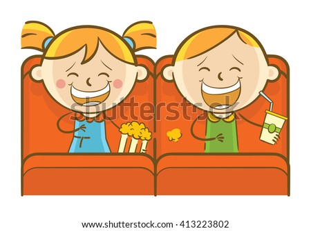 Doodle illustration: Kids watching comedy movie in theater - stock vector