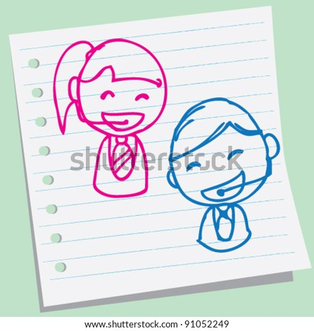 doodle illustration of boy and girl of customer service