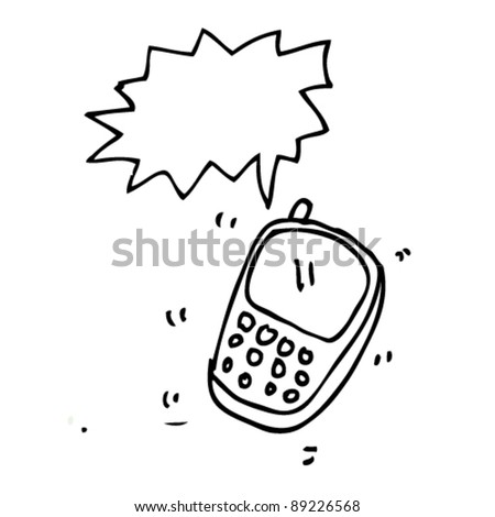doodle illustration of cell phone ringing - stock vector