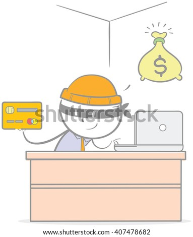 Doodle illustration of criminal stealing a credit card - stock vector