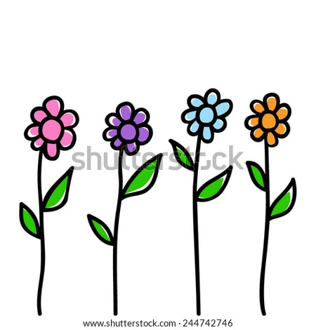 Doodle illustration of flowers - stock vector