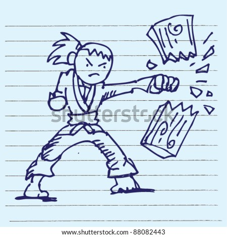 doodle illustration of karate karate doing board break - stock vector